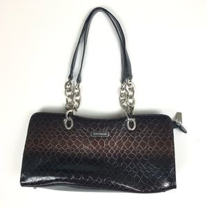 Vittorio Leather Embossed Croc Style Purse Bag